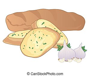 garlic baguette - a vector illustration in eps 10 format of...