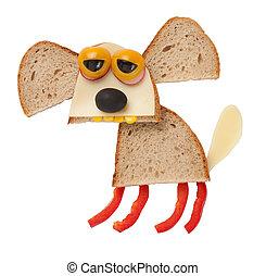 divertido, perro, hecho, de, bread, y, queso, en, aislado,...