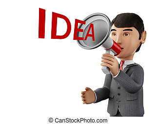 3d Businessman with a megaphone and word idea. - 3d renderer...