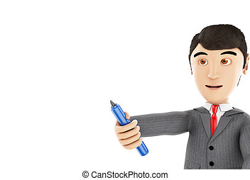 3d Businessman with a marker