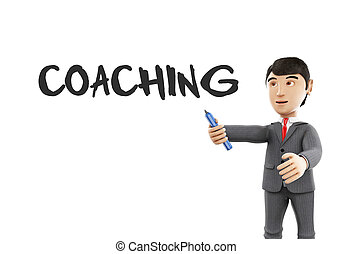 3d Businessman with a marker and word coaching. - 3d...