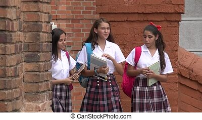 Happy Teen Female Students With Books