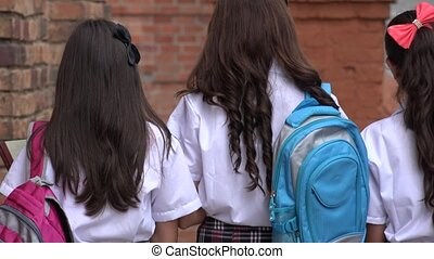 Teen Girls Walking To School