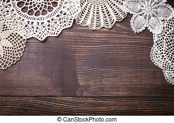 Vintage background with white crochet lace Knitted frame for...