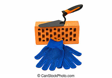 bricks, trowel, protective gloves isolated