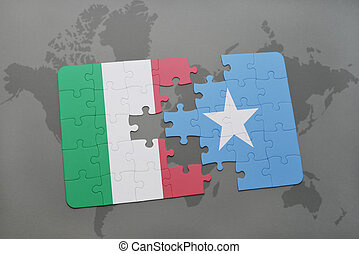 puzzle with the national flag of italy and somalia on a...