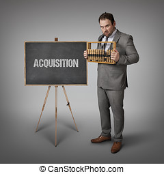 Acquisition text on blackboard with businessman and abacus