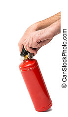 a fire extinguisher in his hands on a white background