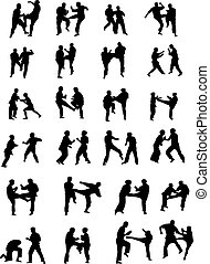 Martial Art Fighters - Vector Silhouette Images of Martial...