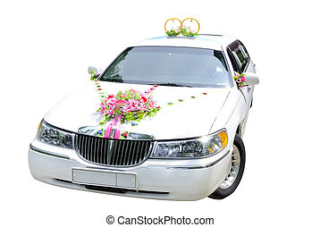 wedding car - The white wedding car decorated with flowers...
