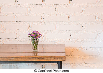 Room interior white brick wall with wooden table, stock...