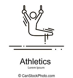 Gymnastics athlete at  rings doing exercise, sport competition vector illustration