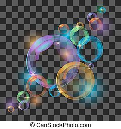 Abstract background with transparent bubbles.