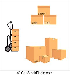 Package delivery set - Vector illustration pile of cardboard...
