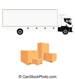 Cargo truck and cardboard boxes - Vector illustration pile...