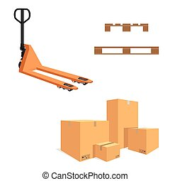 Boxes and pallet jack - Vector illustration pile of...