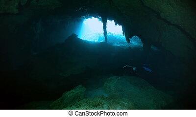 Underwater stalagmites in Mexico cenote. - Underwater...