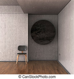 Gallery of modern art, the chair, the circle on the wall. 3D illustration