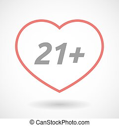 Isolated line art heart icon with the text 21+ -...