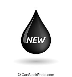 Isolated oil drop icon with    the text NEW