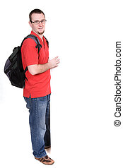 man with banner - young adult guy with board. over white...