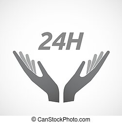Isolated hands offering icon with the text 24H -...