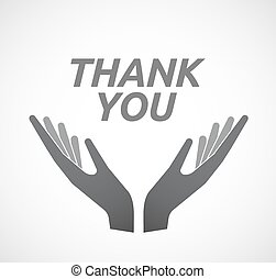Isolated hands offering icon with the text THANK YOU -...
