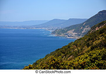 Panoramic view from Otford Lookout. The Sea Cliff Bridge is...