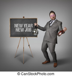New year new job text on blackboard with businessman