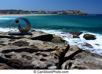Sydney, Australia - Oct 25, 2015. Sculpture by the Sea along...