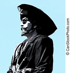 Pirate - Illustration of a pirate over a light blue...