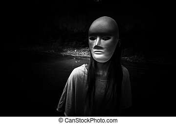 Stranger - Mysterious woman wearing white mask,Scary...