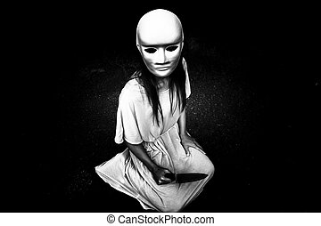 Halloween haunting - Mysterious woman wearing white...