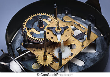 The macro view of clock mechanism - The macro view of old...