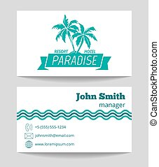 Tropical hotel business card template