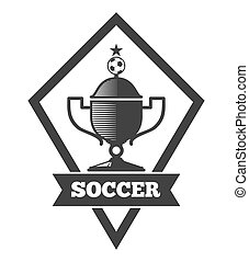 Vector soccer logo template, emblem in black isolated white...