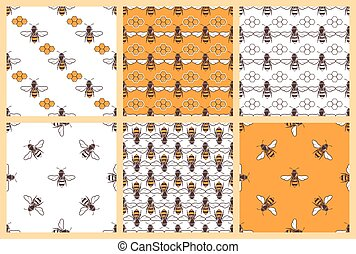Honey and bees vector seamless patterns set - Honey and bees...