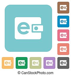Flat e-wallet icons on rounded square color backgrounds.