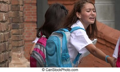 Teen Girl Students With Backpacks