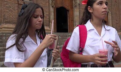 Catholic School Girls Drinking Beverage