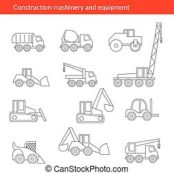 Construction machines thin icons. Vector line of building...