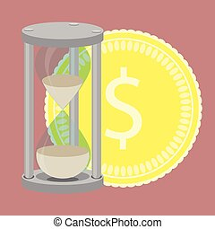 Time is money. Hourglass with golden coin vector