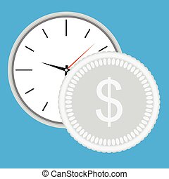 Time is money, clock with silver coin