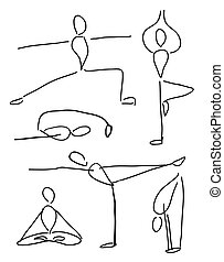 Funny yoga poses - vector