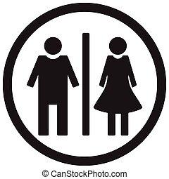 WC toilet icon. Gentleman restroom and lady bathroom. Vector...