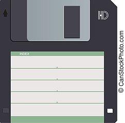 Floppy disk vector - Black magnetic floppy disc. Symbol old...