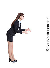 Business woman pushing isolated over a white background