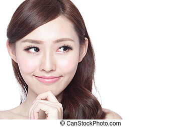 Beauty woman with charming smile - beauty woman look copy...