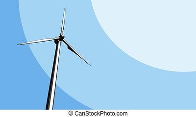 Single wind turbine loopable animation. 4K footage