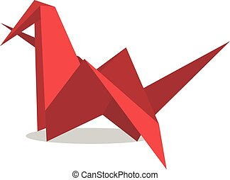Red origami flapping bird - Red paper origami flapping bird...